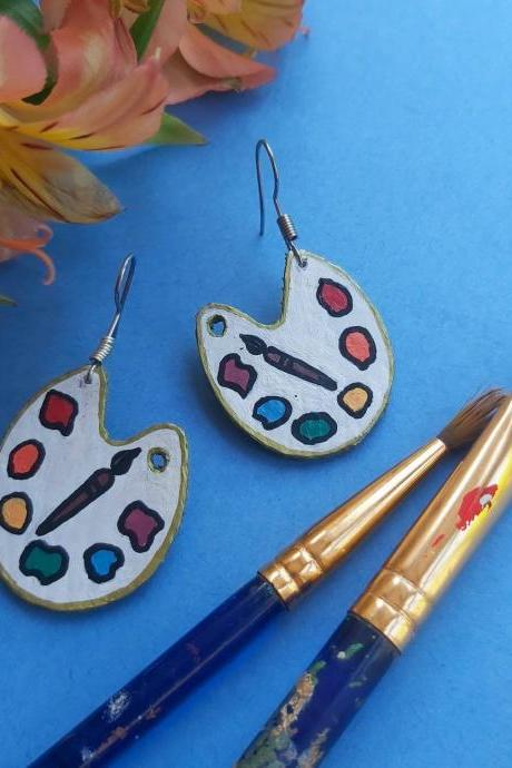 Art earrings , paint pallet earrings , artist earrings . Dangle earrings , faux leather , kawaii earrings