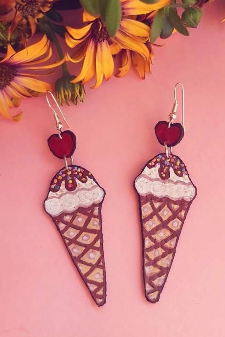 Icecream earrings , food earrings , kawaii earrings , faux leather , acrylic hand painted