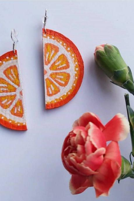 Orange Earrings , Dangle Earrings , Citrus , Fruit Eattings . Sterling silver , Faux Leather