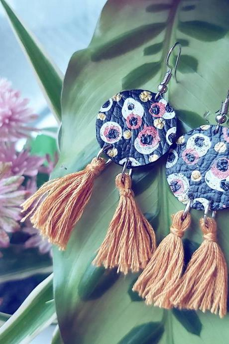 Retro circles with tassels , dangle earrings . Acrylic painted faux leather