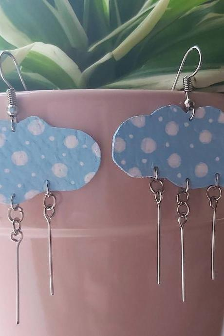 Cloud , dangle earrings . Acrylic painted faux leather