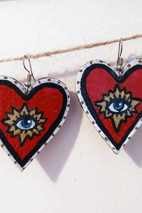 Heart with eye , dangle earrings . Acrylic painted faux leather