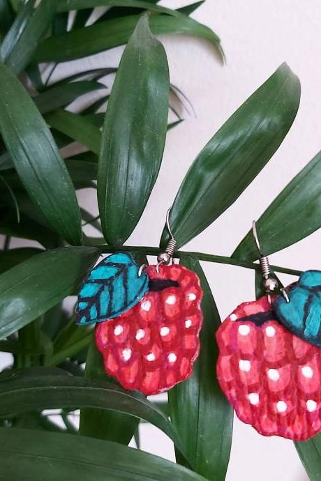 Raspberry dangle earrings. Acrylic painted faux leather